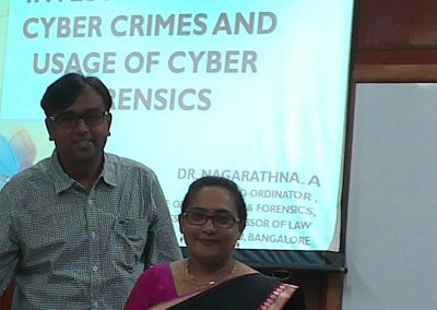 "Mr. Chintan Pathak with Dr. Nagarathna.A(Co-ordinator & Chief Investigator of Advanced Cyber Crime Investigation Lab, NLSIU, Bangalore) during National Conference on ""Cyber Laws, Cyber Crimes & Forensic"" at National Law School of India University (NLSIU), Bangalore-2014."