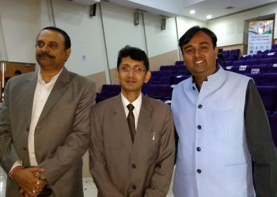 "Mr. Chintan Pathak with Mr. U Ramamohan (DSP, Hydarabad Police) & Additional District Judge of Vadodara City Mr. Rohan Chudawala during Technolegal Workshop on ""Cyber Crimes & Forensic"" for Judiciary, Collectorate, Sr. Police Executives, City Police, Range Police and Western Railway Police at MS University Campus, Vadodara."