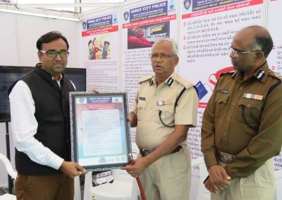 "Mr. Chintan Pathak presented Oath of ""Responsible Digital Citizen"" to Shri. Parmar Sir (In charge Commissioner of Police, Surat City) during ""Cyber Safety for All Campaign"" at National Book Fair-2016, Surat."