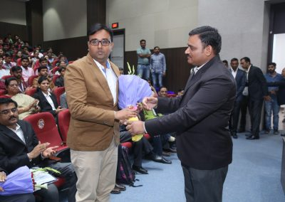 "Mr. Chintan Pathak felicitated during launching of ""Cyber Suraksha Kavach"" at Gujarat Forensic Science University (GFSU), Gandhinagar on 7th February 2017."