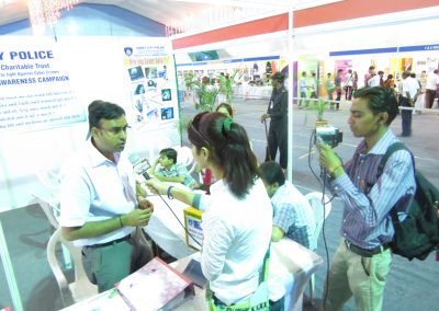 """Mr. Chintan Pathak intervied by News Channel during """"Cyber Safety for All Campaign"""" at National Book Fair-2013, Surat."""